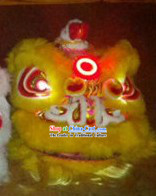 LED Lights Circle Yellow Wool Lion Dance Costumes Full Set