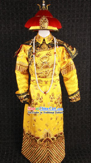 Top Qing Dynasty Imperial Emperor Costumes and Crown Complete Set