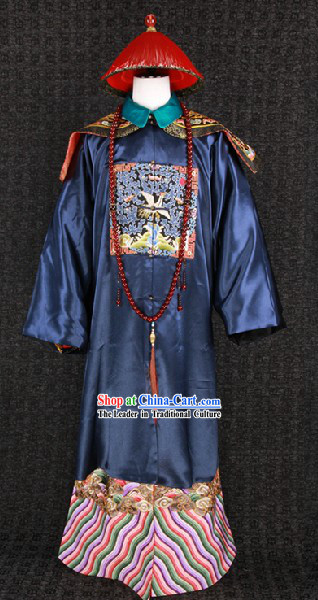 Qing Dynasty Imperial Official Costumes and Hat for Men