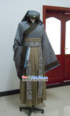 Ancient Chinese Ordinary People Clothes and Hat Complete Set for Men