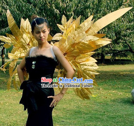 Handmade Golden Long Feather Angel Wings Stage Performance Props
