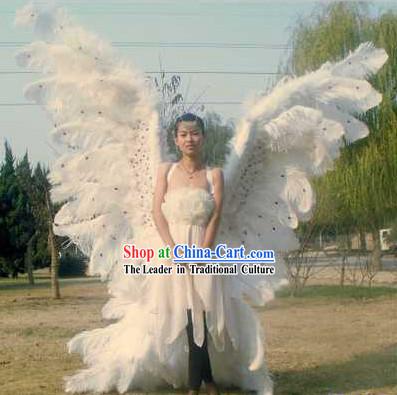 Super Big White Long Angel Wings Stage Performance Props