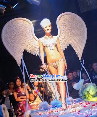 Handmade Professional Stage Performance Big White Angel Wings