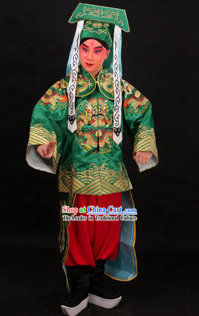 Traditional Chinese Dragon Embroidery Blouse and Pants and Hat