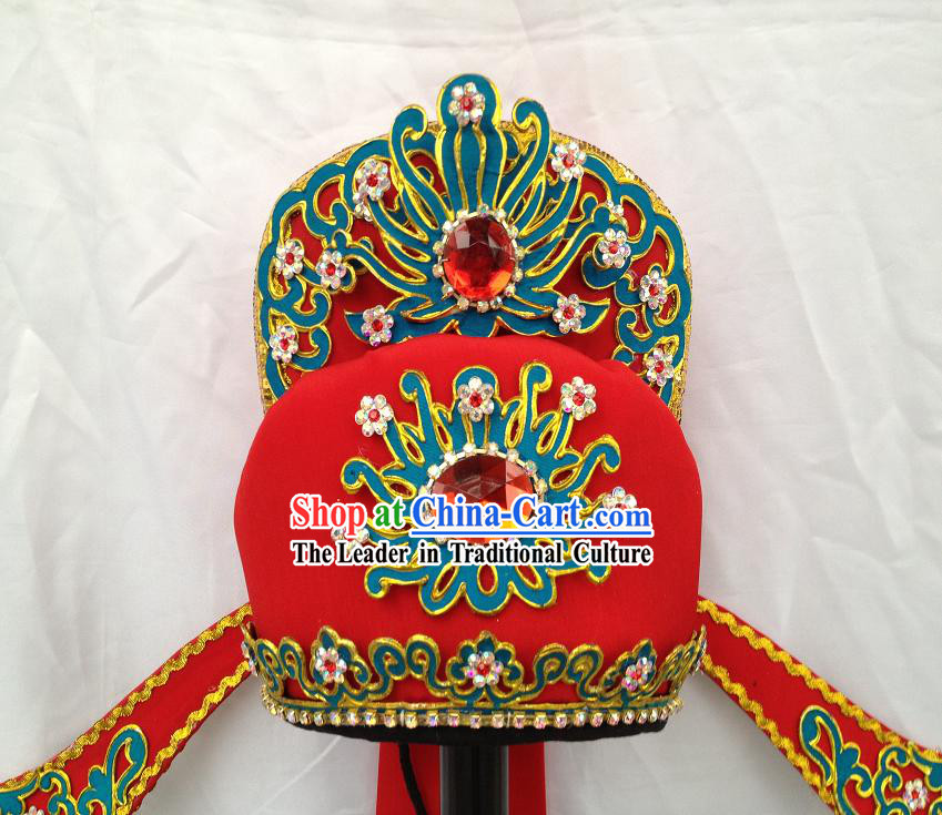 Ancient Chinese Red Opera Stage Performance Male Hat