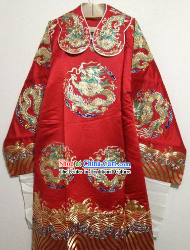 Hands Embroidered Pure Silk Peking Opera Dragon Costumes