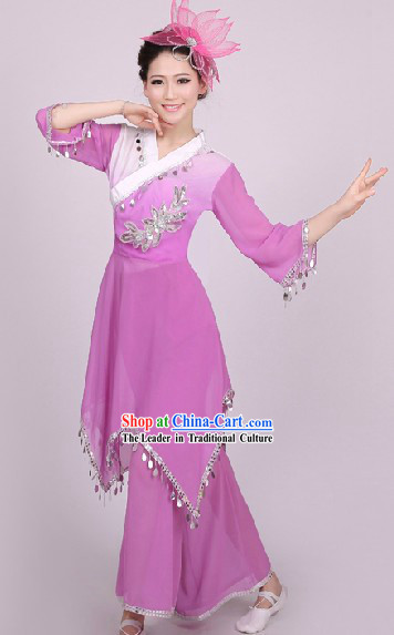 Traditional Chinese Yangge Dance Costumes and Headwear Complete Set