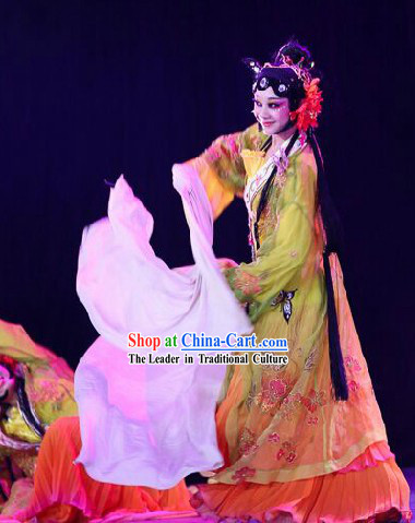 Traditional Chinese Long Sleeves Classic Dancing Costumes and Headwear for Women