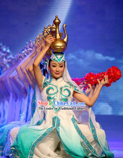 Chinese Classic Hui Ethnic Dance Costumes and Headwear for Women