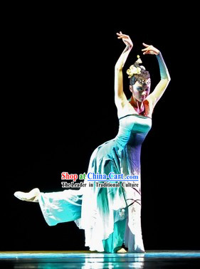 One Shoulder Recital Dance Costumes and Headdress for Professional Dancers