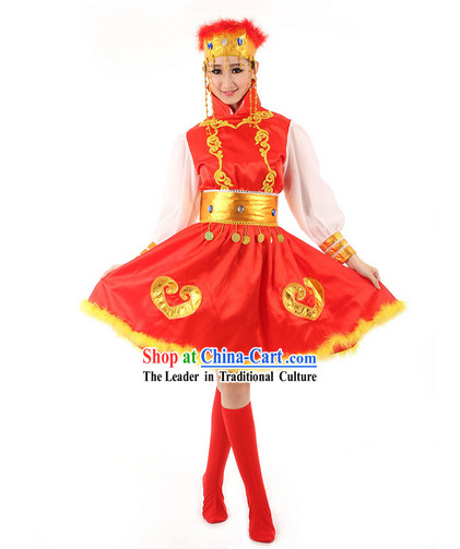 Mongolian Folk Female Dance Costumes and Hat