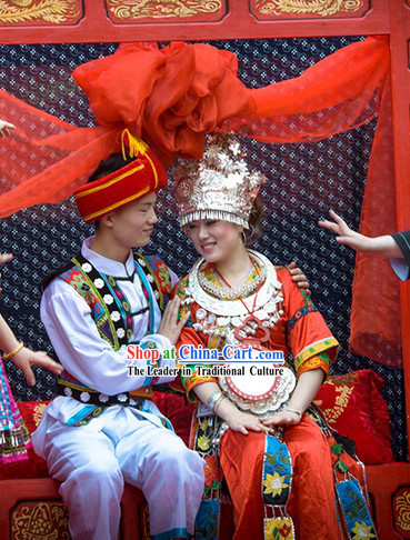 Traditional Chinese Miao Ethnic Wedding Dresses for Brides and Bridegroom