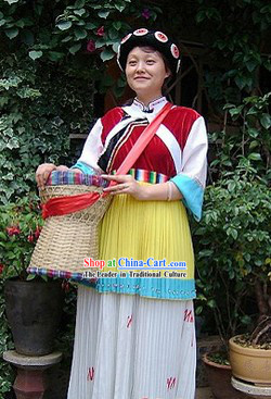 Chinese Naxi Ethnic Minority Clothes and Hat for Women