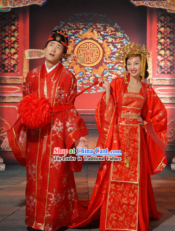 Chinese Folk Wedding Outfits for Men and Women