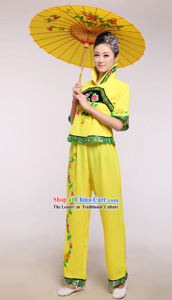 Chinese Classic Yellow Stage Performance Umbrella Dancing Suit and Headdress