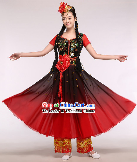Chinese Classic Red Stage Performance Xinjiang Dancing Suit and Hat