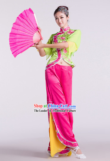 Chinese Classic Green Stage Performance Fan Dancing Outfit