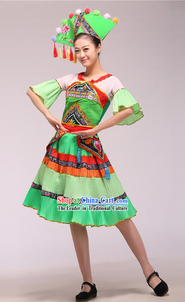 Chinese Stage Performance Ethnic Minority Dance Costumes and Hat Complete Set