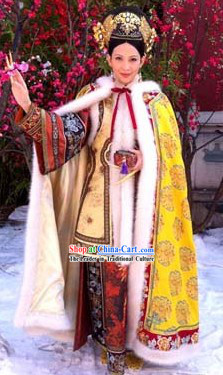 Qing Dynasty Empress Clothing, Cape and Headdress Complete Set
