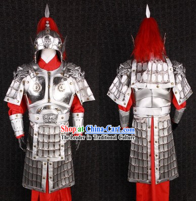 Ancient Chinese Silver General Armor Outfits and Helmet Complete Set