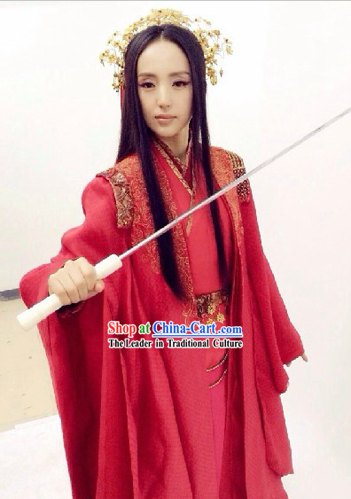 Ancient Chinese TV Drama Red Wedding Dress and Headdress Complete Set