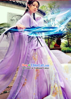Zhou Zhiruo Purple Hanfu Clothes in The Heaven Sword and Dragon Saber
