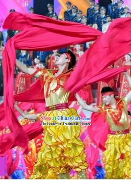 Chinese Spring Festival Gala 2014 Opening Dance Costumes and Headwear Complete Set for Men