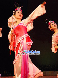 Traditional Chinese Fan Dance Costume and Headdress Complete Set