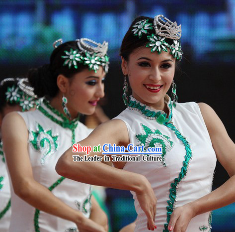 White and Green Jasmine Flower Dancewear Costume and Headwear Complete Set