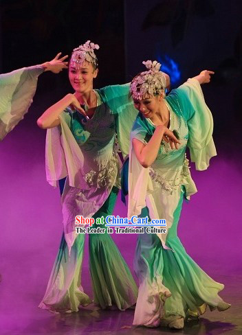 Green Jasmine Flower Dance Costumes and Headwear Complete Set for Women