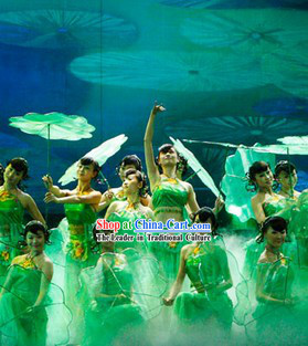 Jasmine Flower Group Dance Green Costumes