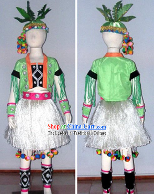 Chinese Ethnic Minority Dance Costume Dancewear and Headdress Kids Showcase Complete Set