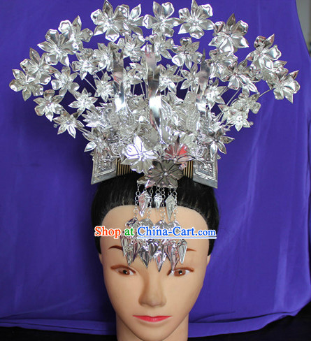 Traditional Miao Ethnic Silver Three Birds Comb Hat