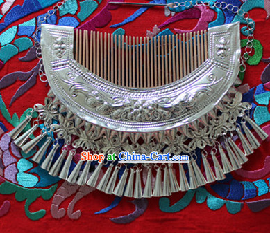 Traditional Miao Ethnic Silver Comb Headpieces
