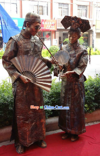 Action Art Living Sculpture Qing Dynasty Lady and Sir Props Costume Two Complete Sets