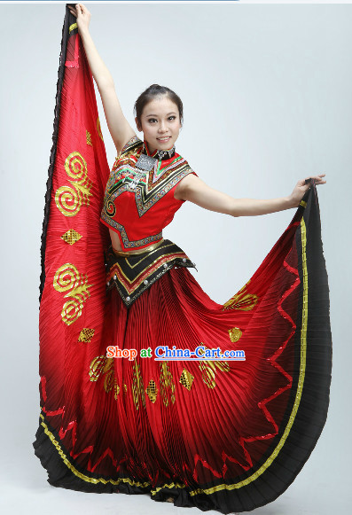 Red Yi Minority Dance Costumes and Headpiece for Women