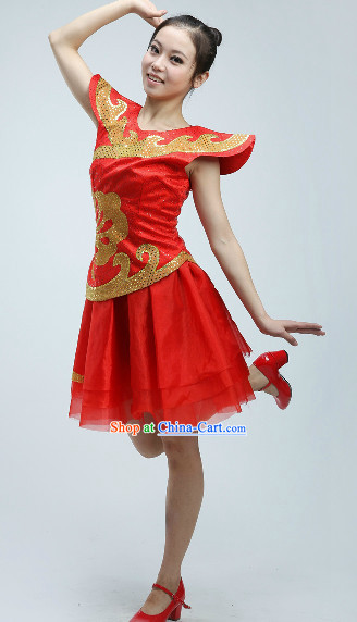 National Raised Shoulders Red Dance Costume