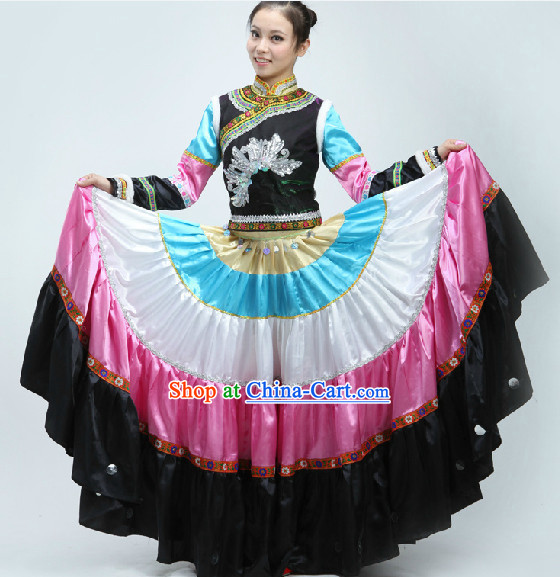 Yi Ethnic Minority Dance Costumes Clothes