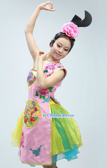 Traditional Chinese Phoenix Embroidery Dance Costumes and Headwear Complete Set