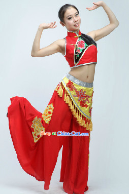 Mandarin Collar Chinese Folk Handkerchief Dance Costumes with Wide Leggings