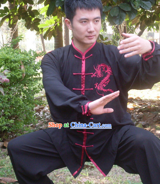 Kung Fu Practice White Blouse and Pants with Gold Dragon