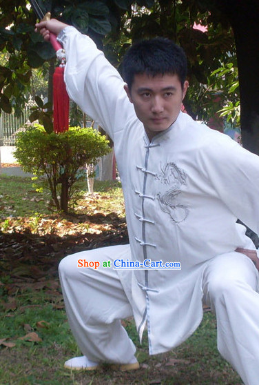 Chinese Classical Tai Ji Clothes with Silver Dragon Embroidery