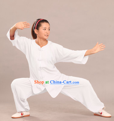 White Round Collar Tai Chi Summer Wear Suit