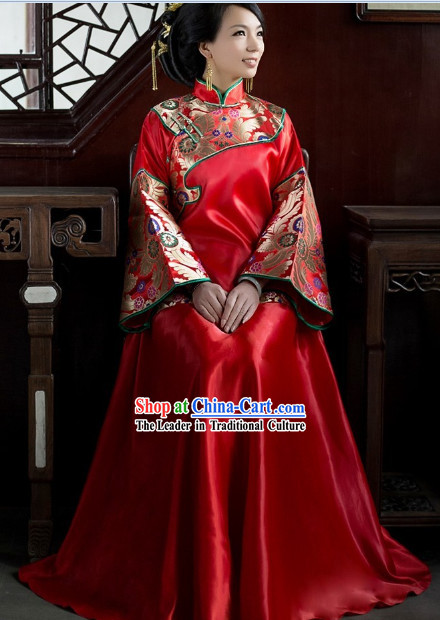 Traditional Chinese Wedding Blouse and Skirt for Brides