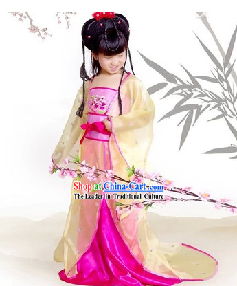 Pink Princess Guzhuang Hanfu Clothes for Kids