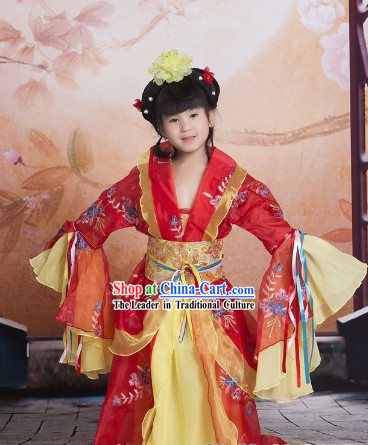 Long Tradil Tang Dynasty Princess Guzhuang Hanfu Clothing for Children