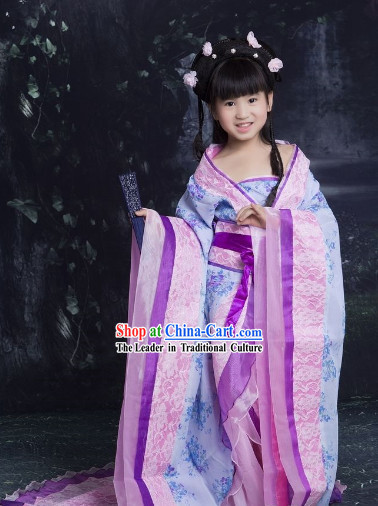 Chinese Princess Purple Guzhuang Hanfu Clothes for Kids