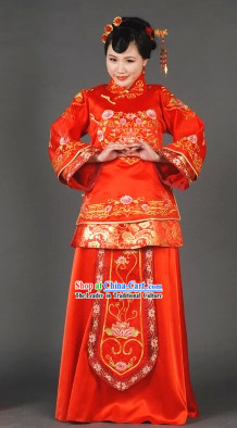 Red Xiuhe Wedding Garment Romantic Dress