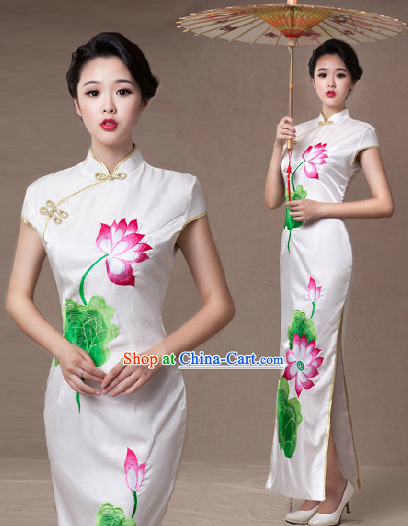 Lotus Embroidery Long Cheongsam and Umbrella