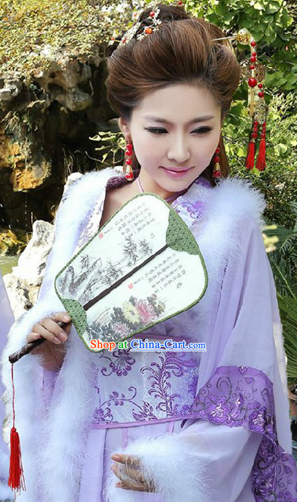 Traditional Chinese Purple Fairy Costumes and Round Fan